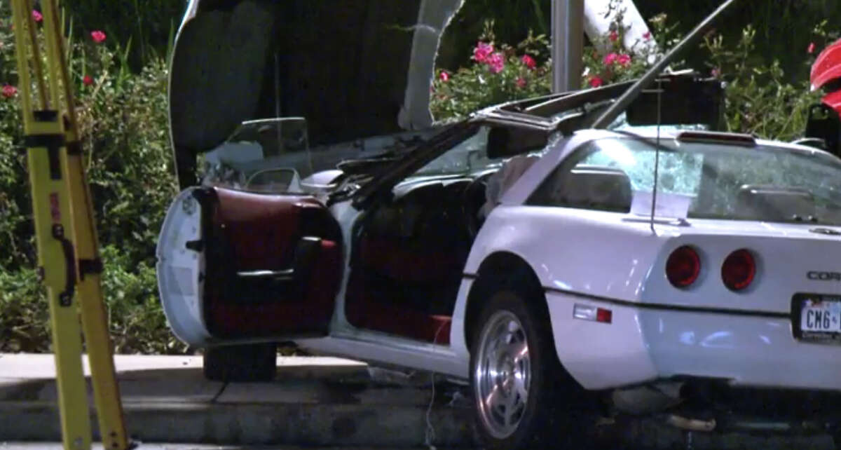 A Chevrolet Corvette was hit by a truck when the driver attempted a U-turn, killing the driver and sending the passenger to the hospital.
