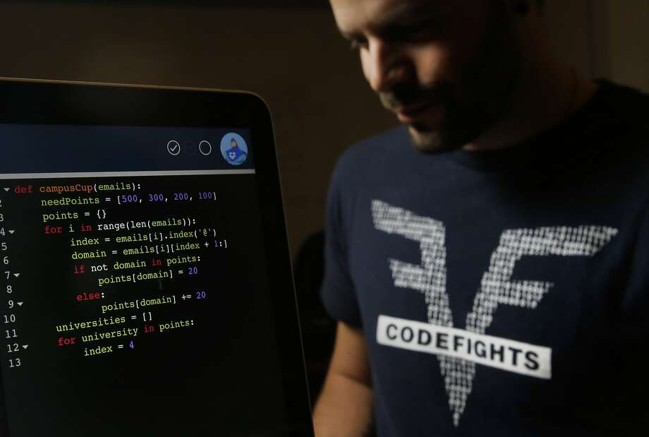 Co-founders Felix Desroches with a screen displaying a section of the coding test at their downtown San Francisco, Calif. office on Saturday December 19, 2015. Codefights is an online programming puzzle test for applicants who are applying for jobs at companies like Go Daddy, Uber and Dropbox to name just a few. Photo: Michael Macor, The Chronicle