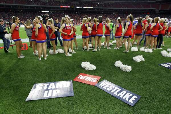 Westlake High School cheerleaders during the first half of the state 6A-Division I state championship final at NRG Stadium on Saturday, Dec. 19, 2015, in Houston.