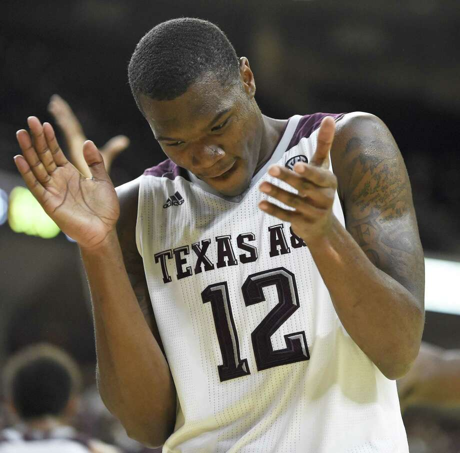 Texas A&M guard Jalen Jones (12) reacts after a Baylor turnover during the second half of an NCAA college basketball game Saturday, Dec. 19, 2015, in College Station, Texas. Texas A&M won 80-61. (AP Photo/Eric Christian Smith) Photo: Eric Christian Smith, FRE / Associated Press / FR171023 AP
