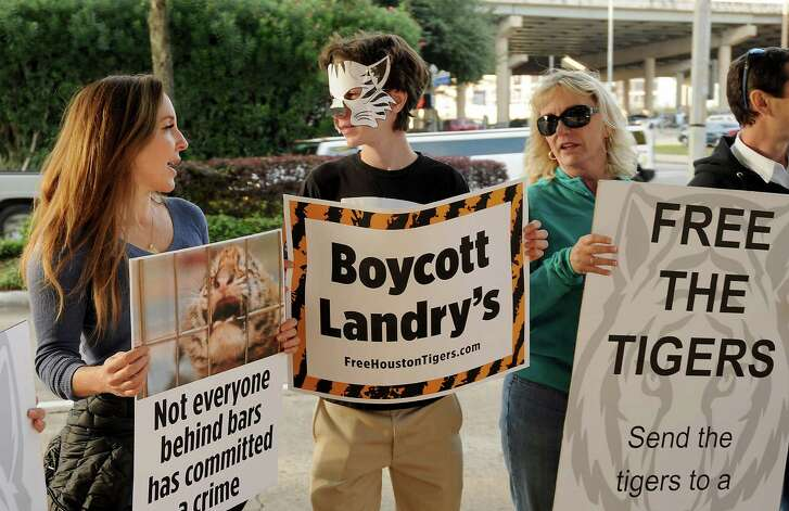 The Big Cat Rescue, the Texas Humane Legislation Network, Animal Defenders International, and Houstonians Lincoln Dow and Cheryl Conley have all collaborated to object to the treatment of the four white Bengal tigers who are currently residing at the Houston Aquarium. Pictured are from left: Katya Dow, Lincoln Dow and Cheryl Conley across the street from the Downtown Aquarium Saturday Dec. 19, 2015.(Dave Rossman photo)