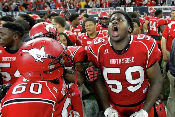 North Shore's Cameron Brown (59) screams after beating Westlake in OT 21-14 after the state 6A-Division I state championship final at NRG Stadium on Saturday, Dec. 19, 2015, in Houston.