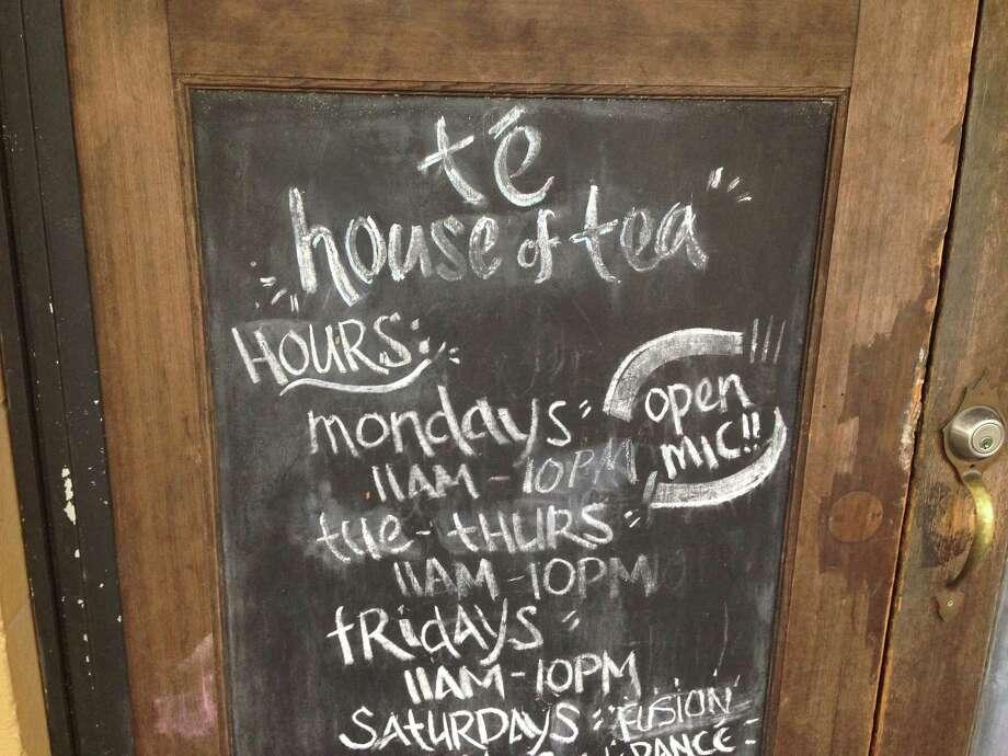 Outside Te House of Tea, on Fairview. Photo: Lisa Gray