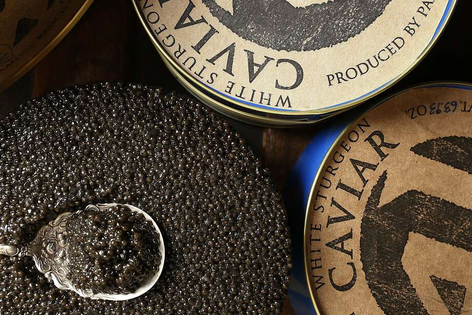 White sturgeon caviar from Michael Passmore seen on his ranch in Sloughhouse, California, on Tuesday, December 15, 2015. Photo: Liz Hafalia, The Chronicle
