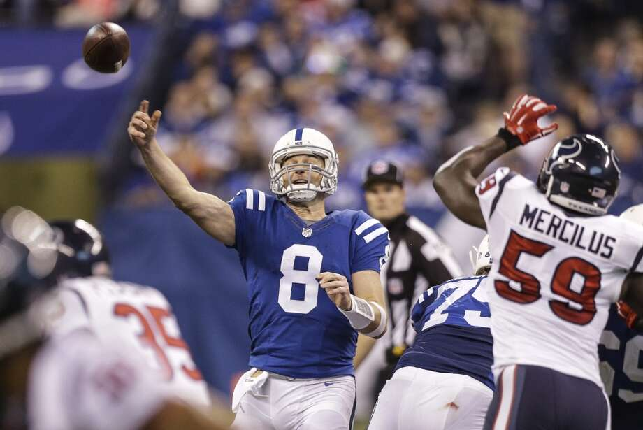 Indianapolis Colts (7-8)Projected: OutRemaining schedule: vs. Titans (3-12)The best the Colts can do is tie the Texans for the AFC South and hope the tiebreaker falls in their favor. The Colts would have to beat Tennessee next week - should be easy enough - but then have the Jaguars beat the Texans - not likely. The deciding tiebreaker between the Colts and Texans is strength of victories. So, you take every team you've beaten, and add up their victories. The Texans' wins over the 11-3 Bengals and 10-5 Jets have swung that in the Texans' favor. Photo: Houston Chronicle
