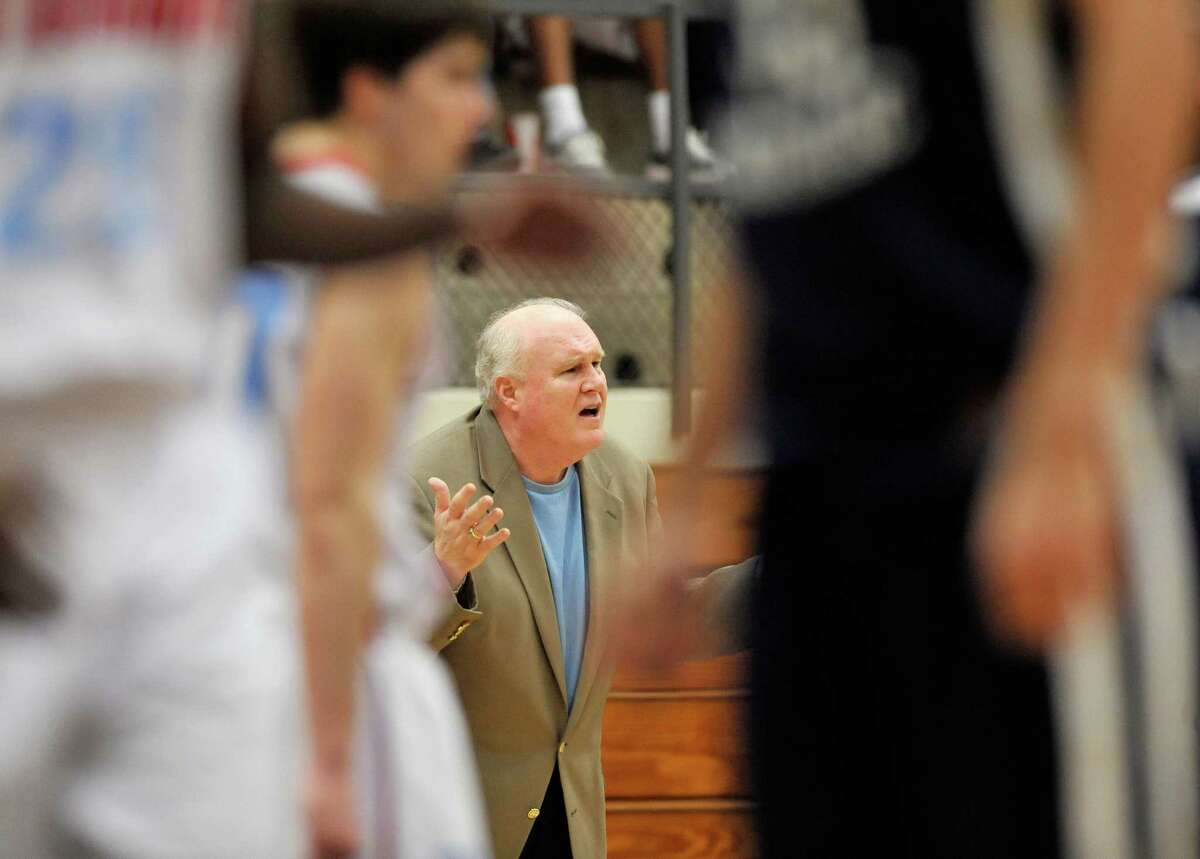 Antonian head coach Charlie Boggess disagrees with a call during the first half of a high school basketball game against Central Catholic, Monday, Feb. 4, 2013, at Taylor Field House in San Antonio. Antonian won 63-42. (Darren Abate/For the Express-News)