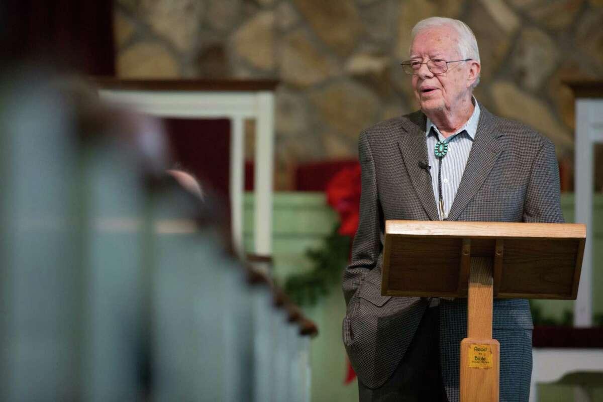 Former President Jimmy Carter teaches Sunday school at his church in Plains, Ga., on Dec. 13.