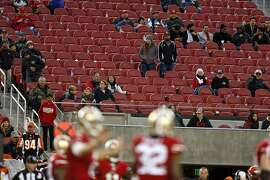 A smattering of San Francisco 49ers' fans watch final minutes of  Cincinnati Bengals' 24-14 win during NFL game in Santa Clara, Calif., on Sunday, December 20, 2015.