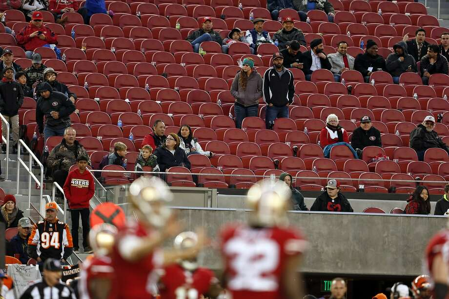 In the NFL, empty seats are becoming an image problem. Levi's is the  poster stadium for bald spots. Photo: Scott Strazzante, The Chronicle