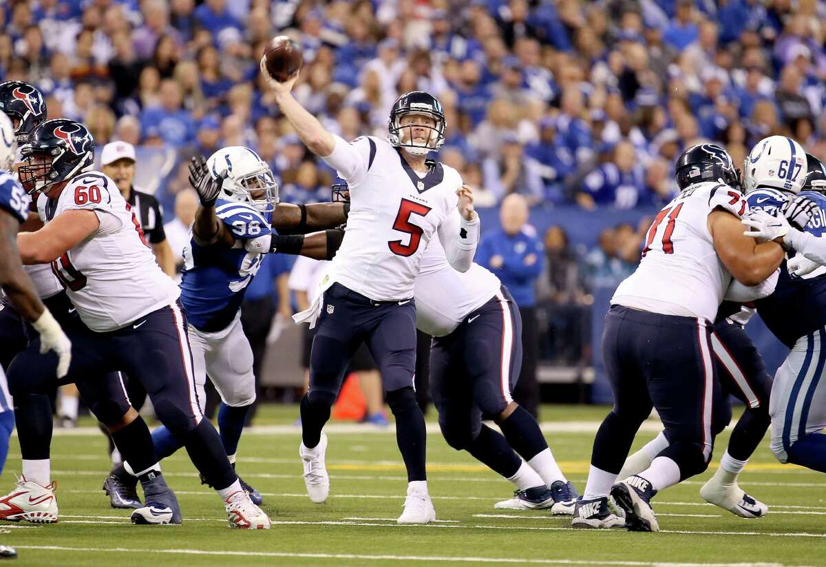 Third-string QB Brandon Weeden, signed by the Texans on Nov. 18, led Houston to its first win in Indianapolis.