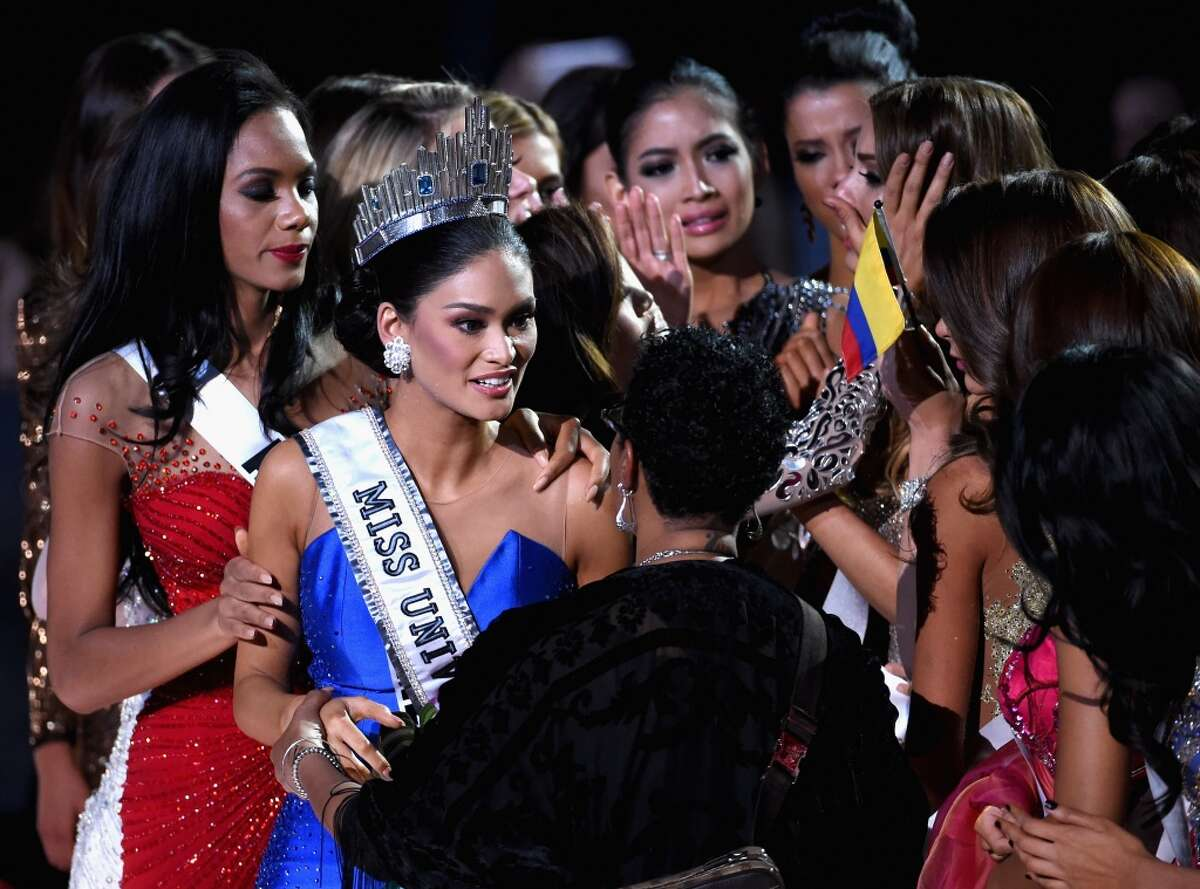 Miss Philippines 2015, Pia Alonzo Wurtzbach (2nd L), who was mistakenly named as First Runner-up reacts with other contestants after being named the 2015 Miss Universe during the 2015 Miss Universe Pageant at The Axis at Planet Hollywood Resort & Casino on December 20, 2015 in Las Vegas, Nevada.
