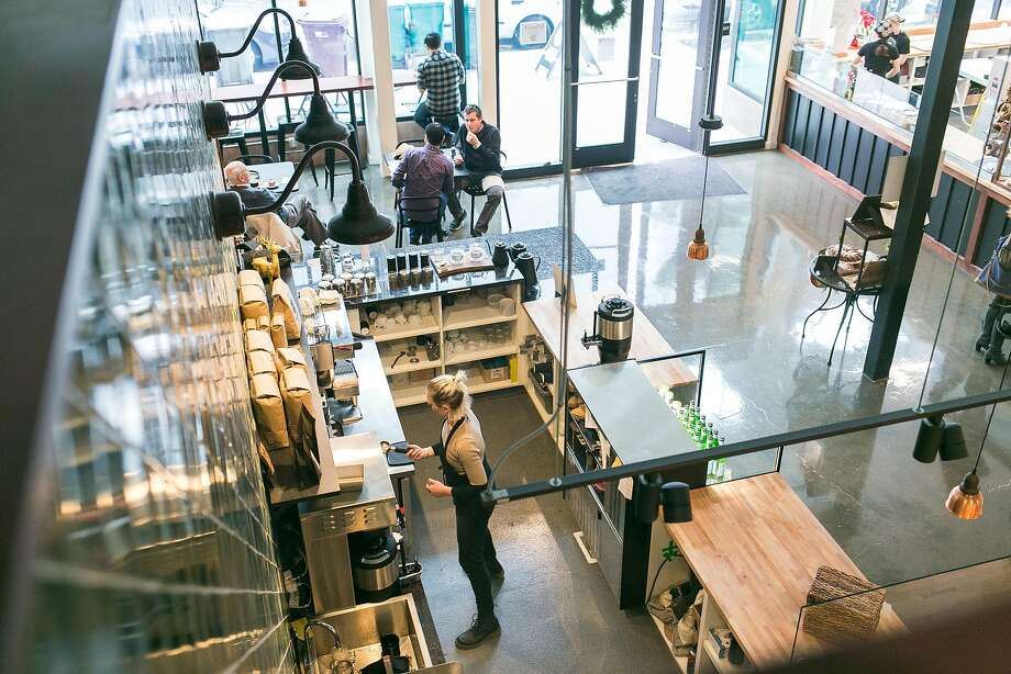 An overhead view of the coffee bar and open retail space inside of Firebrand Artisan Breads. Photo: Jen Fedrizzi, Special To The Chronicle