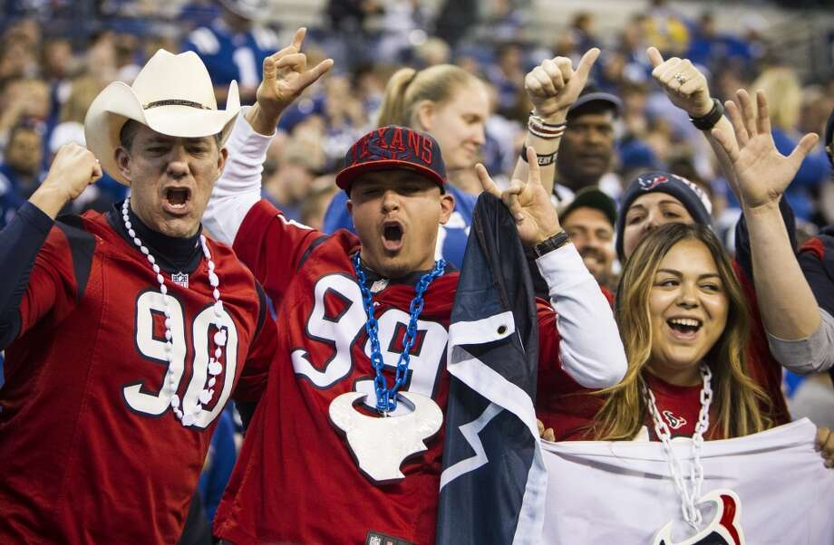 Houston Texans fans cheer after an 8-yard touchdown reception by Texans wide receiver Jaelen Strong against the Indianapolis Colts during the fourth quarter of an NFL football game at Lucas Oil Stadium on Sunday, Dec. 20, 2015, in Indianapolis. The Texans beat the Colts 16-10, for the Texans' first win in Indianapolis in franchise history. ( Brett Coomer / Houston Chronicle ) Photo: Brett Coomer, Houston Chronicle
