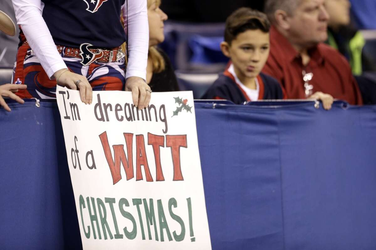 Houston Texans fans watch the first quarter of an NFL football game against the Indianapolis Colts at Lucas Oil Stadium on Sunday, Dec. 20, 2015, in Indianapolis. ( Brett Coomer / Houston Chronicle )