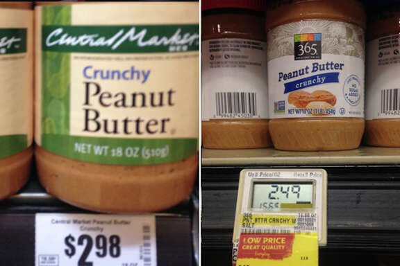 Peanut Butter  Central Market (18 oz.): $2.98 Whole Foods (16 oz.): $2.49