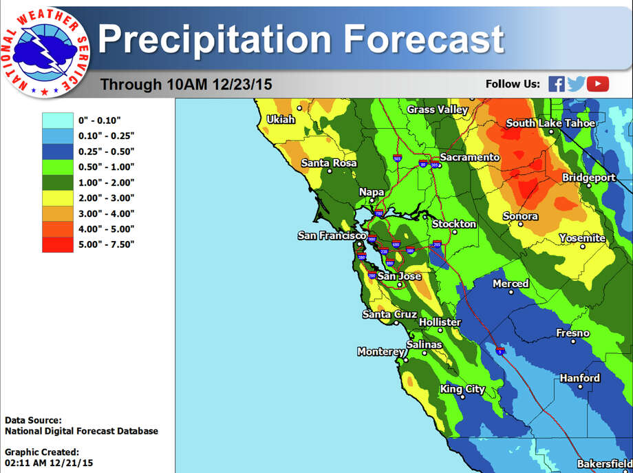 Projected rainfall totals through Wednesday morning. Photo: NWS Bay Area