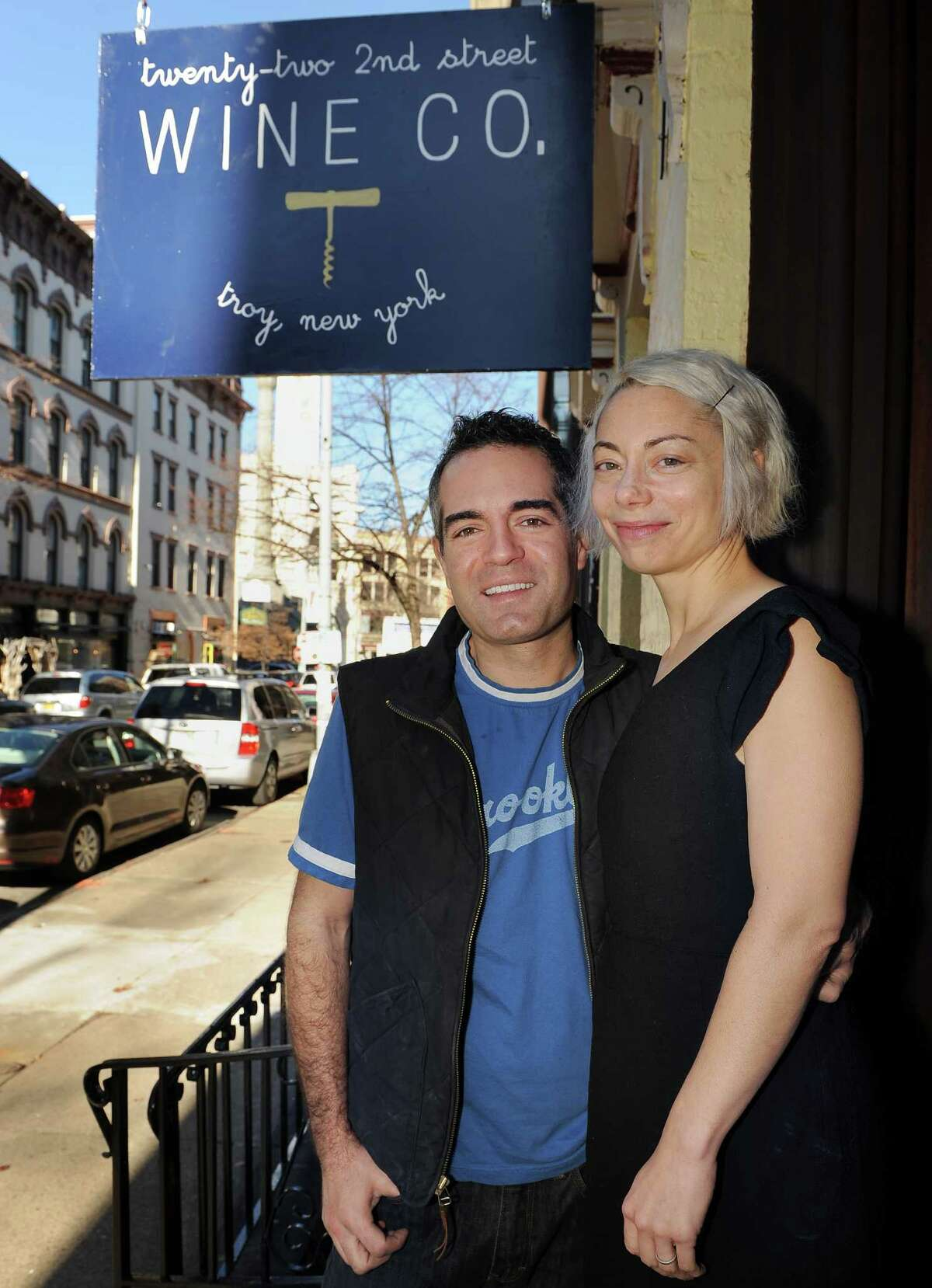 Vic Christopher and his wife Heather LaVine at their new wine shop, 22 Second St Wine Co., Friday Nov. 20, 2015 in Troy, NY.(John Carl D'Annibale / Times Union)