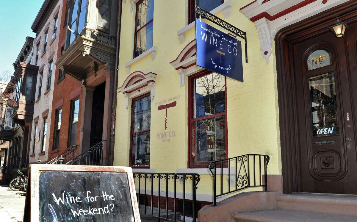 Exterior of Vic Christopher and wife Heather LaVine's new wine shop, 22 Second St Wine Co., Friday Nov. 20, 2015 in Troy, NY.(John Carl D'Annibale / Times Union)