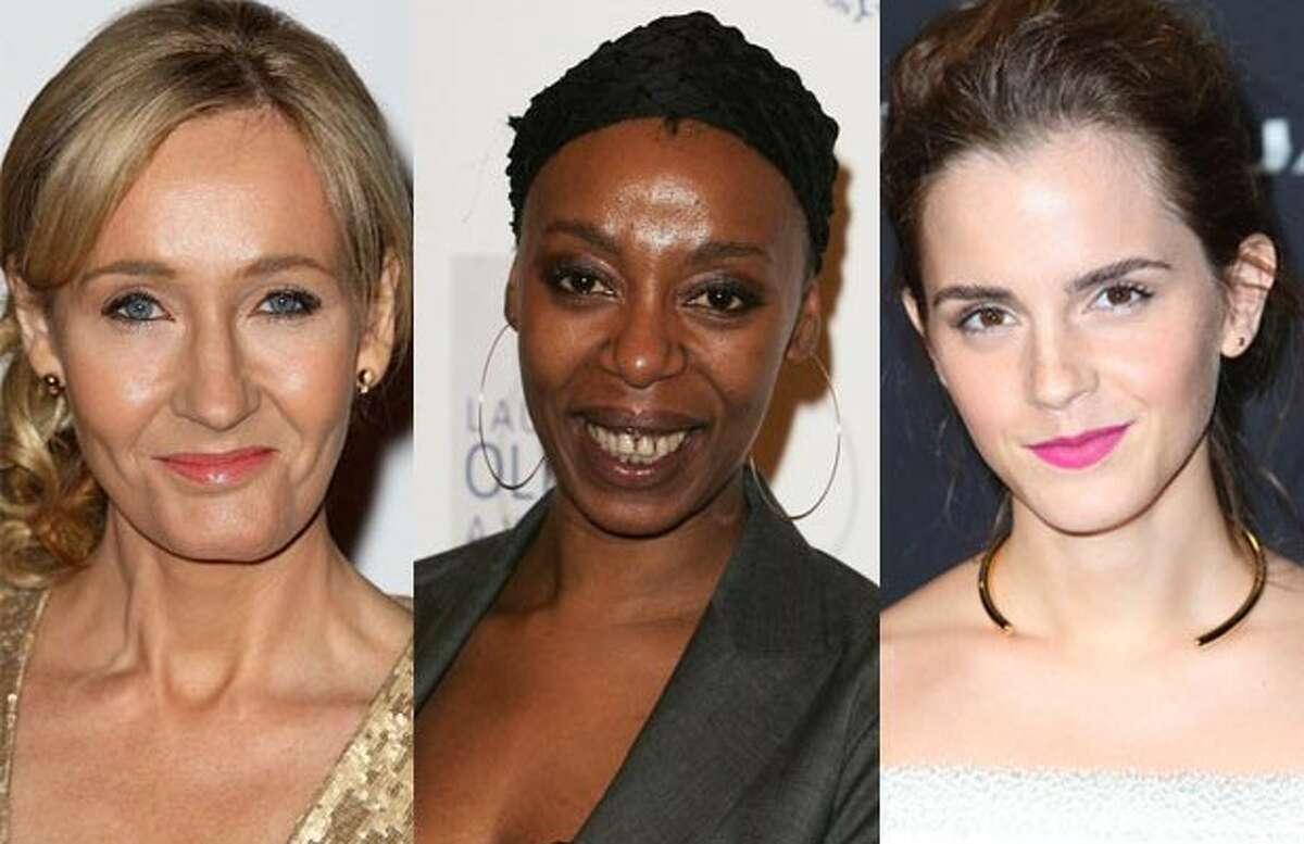 """Noma Dumezweni (center) was cast as Hermoine Granger in the stage production of Harry Potter -- a role that, until then, was played by Emma Watson. The move upset some people, but J.K. Rowling took to Twitter after to controversy in support of Dumezweni, writing: """"Canon: brown eyes, frizzy hair and very clever. White skin was never specified. Rowling loves black Hermione."""""""