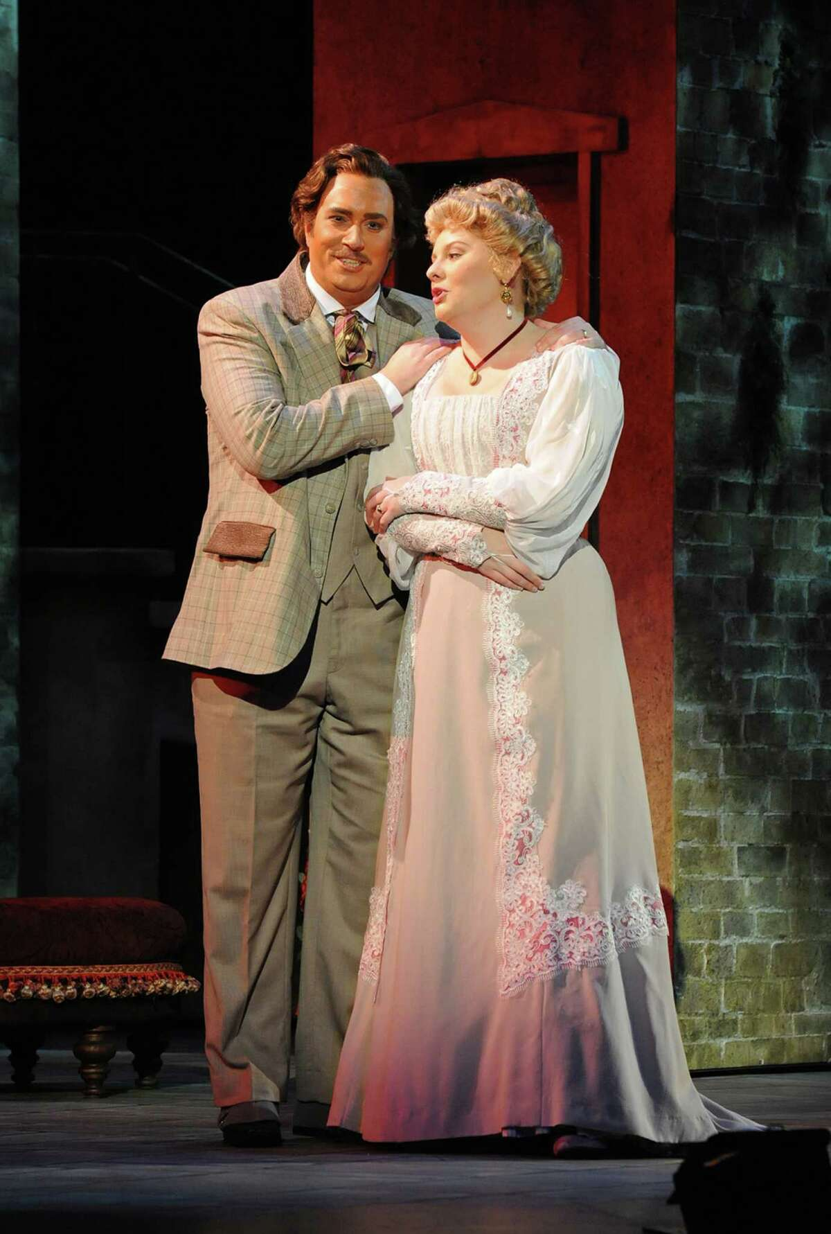 """Matthew Hanscom (left) as Gino Carella and Isabella Ivy as Lilia Herriton in """"Where Angels Fear to Tread"""" at Opera San Jose."""