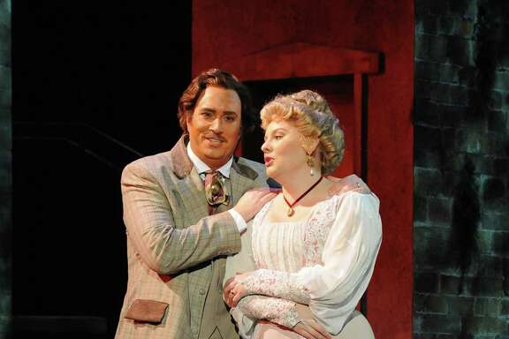 "Matthew Hanscom (left) as Gino Carella and Isabella Ivy as Lilia Herriton in ""Where Angels Fear to Tread"" at Opera San Jose."