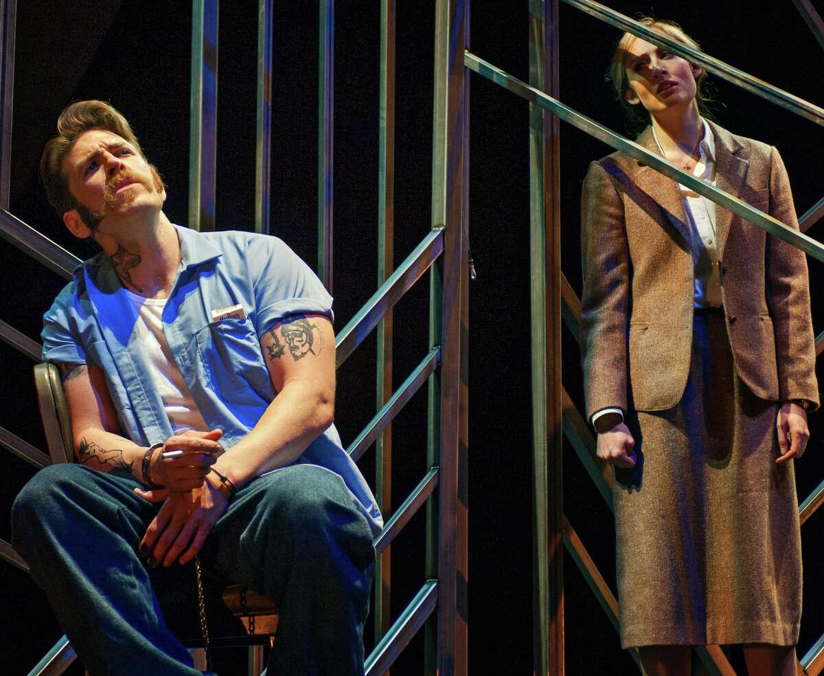 """Michael Mayes (left) as Joseph de Rocher and Jennifer Rivera as Sister Helen in """"Dead Man Walking"""" at Opera Parallèle."""