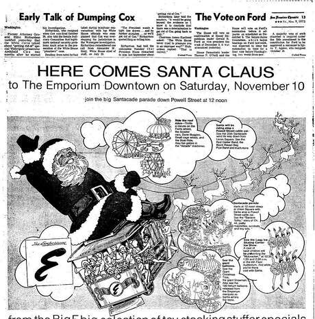 The Emporium Holiday Parade ad from Nov. 9, 1973. Santa as well as TV's Banana Splits were the stars.