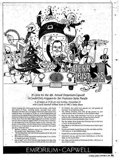 The Emporium Holiday Parade ad that ran Nov. 14, 1982. NBC weatherman Willard Scott was the grand marshal.