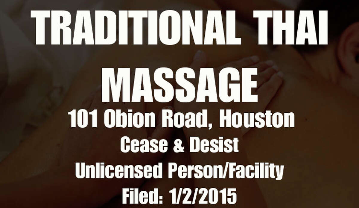 (Source: Texas Department of State Health Services Region 6 massage parlor violations for January 1 - November 20, 2015. Date filed reflects date received by DSHS and not necessarily date of violation.)