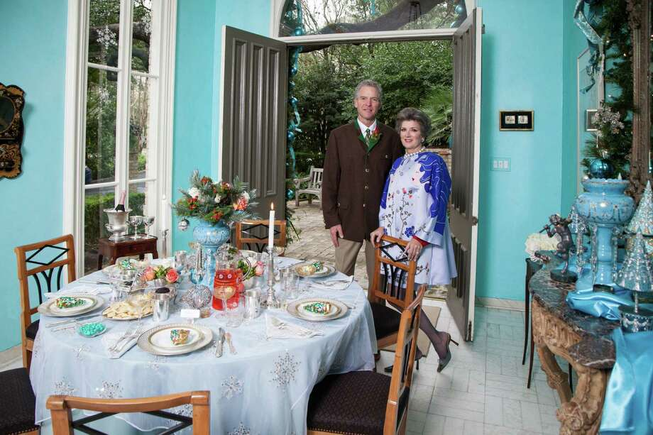 Resplendent in shades of winter blues, the table is set for a Romantic Russian Repast hosted by Alice and Eric Foultz. Photo: Sam Roberts /For The Express-News