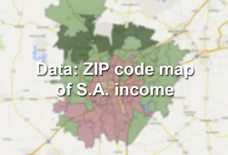 The U.S. Census Bureau's updated San Antonio income numbers show how wealth is distributed in Bexar County ZIP Codes. Photo: Map Created By Chris Eudaily