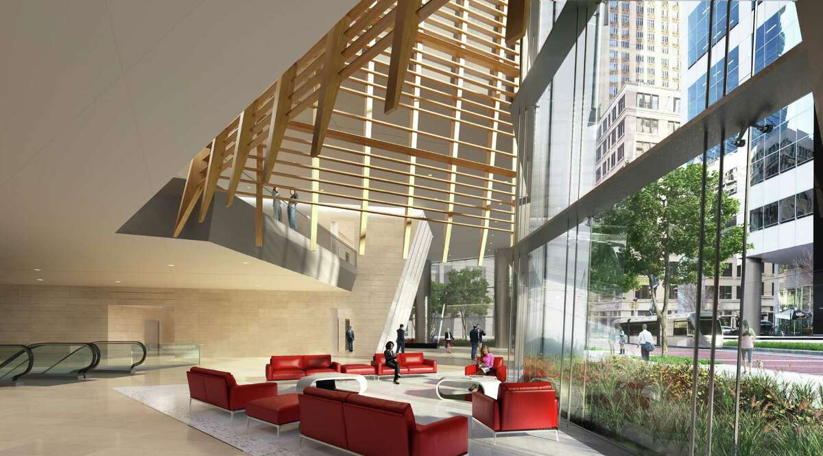 This rendering shows the interior plans for the tower at 609 Main at Texas.