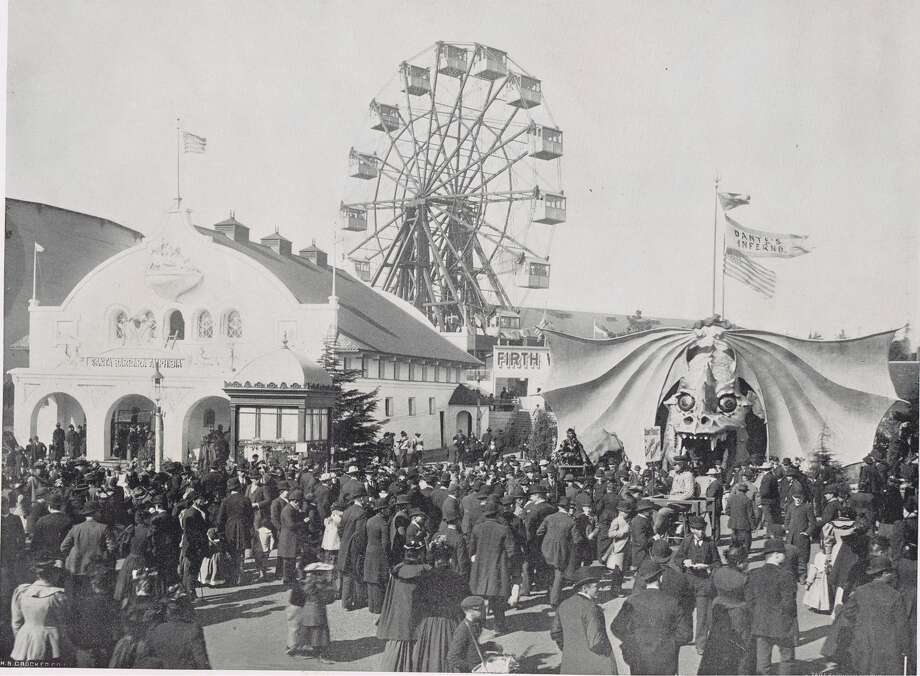 Firth Wheel, Santa Barbara Amphibia and Dante's Inferno - This image was taken during a celebration of Ireland's Day, March 17th. More than seventy-five thousand people attended the fair that day. The San Francisco Midwinter Fair of 1894, in Golden Gate Park, from the collection of Bob Bragman Photo: Bob Bragman