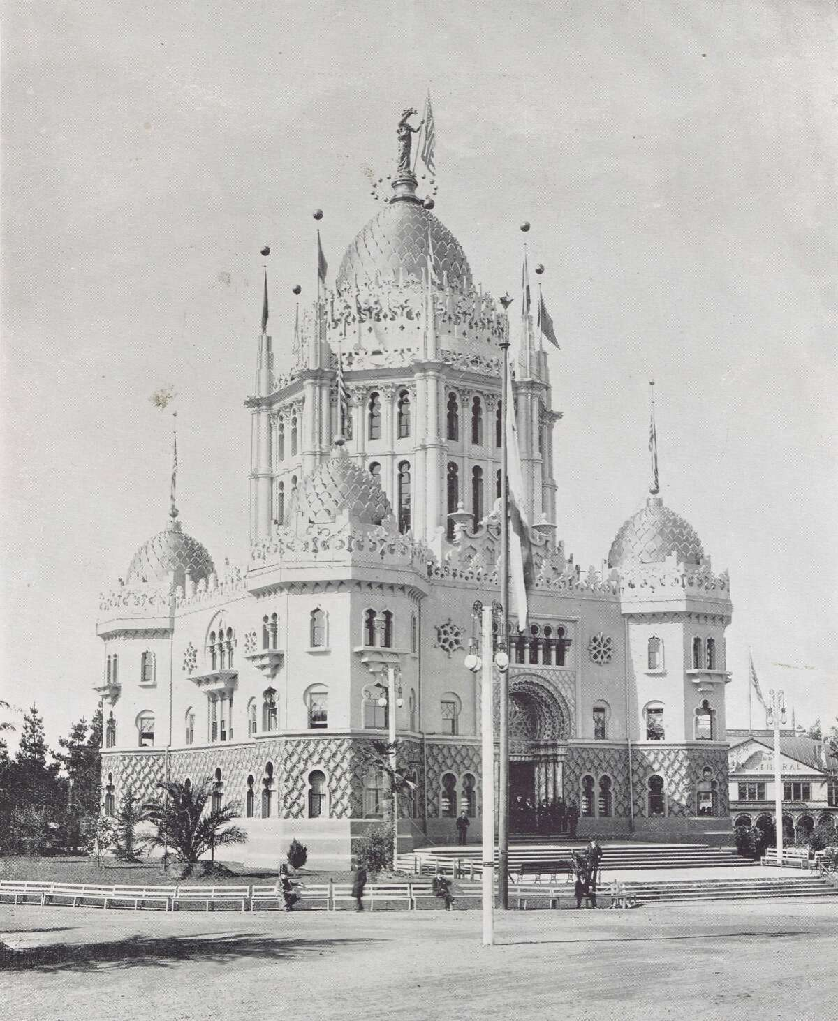 The Administration Building - Created in East Indian style architecture. Built of wood and fireproof staff at only a cost of $31,000. It contained press and telegraph departments, housing for executives and financial offices. The San Francisco Midwinter Fair of 1894, in Golden Gate Park, from the collection of Bob Bragman
