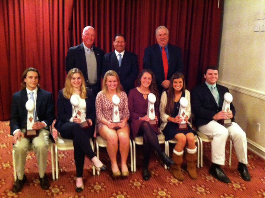 The 2015 Fairfield County Football Officials scholarship winners were recently announced. First row, from left, Matthew Meyers, Newtown High School; Johnna Coffin, Brien McMahon; Morgan Damato, Bunnell; yane Newall, Bunnell; Lindsay Lucifora St. Joseph; and Thomas (Mac) Barreca, Staples.Second row, from left, Walt Brown, awards chairman; John Inesta, incoming presiden; and Jim West, outgoing president Photo: Contributed / Contributed Photo / Connecticut Post Contributed