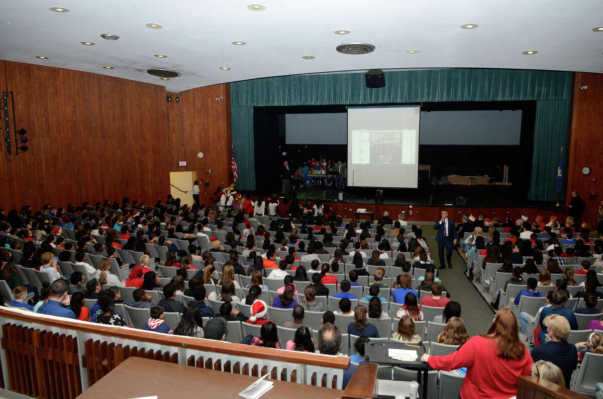 Students, staff and invited honored guests at Rippowam International Baccalaureate World School in Stamford, CT videoconference with soldiers stationed in Afghanistan with the Army's 10th Mountain Division on Mon. Dec. 21, 2015. The students had sent a holiday care package to the soldiers and wanted to thank them and give them holiday greetings.