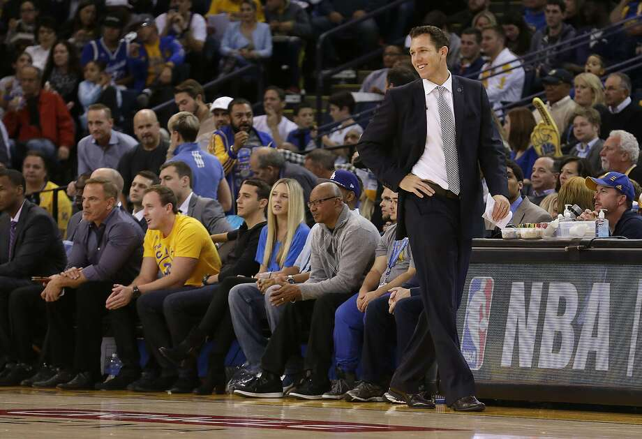 Golden State Warriors interim head coach Luke Walton smiles during the second half of an NBA basketball game against the Los Angeles Lakers in Oakland, Calif., Tuesday, Nov. 24, 2015. The Warriors won 111-77. (AP Photo/Jeff Chiu) Photo: Jeff Chiu, AP
