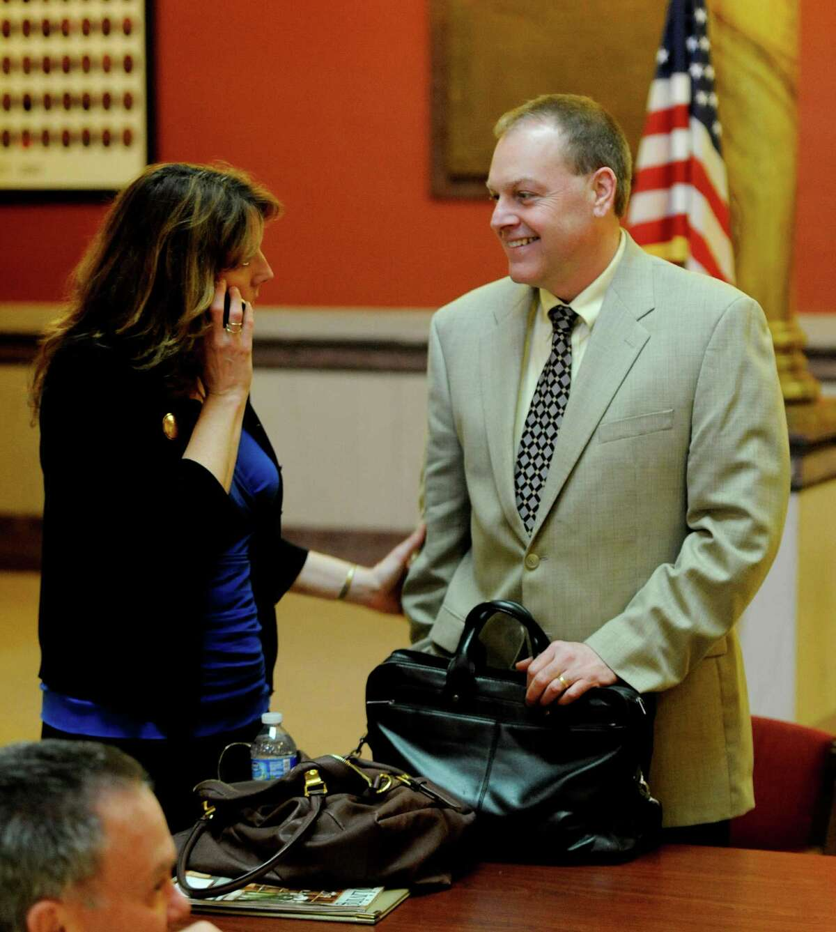 Edward McDonough is all smiles with wife Jackie after a hung jury caused Judge George Pulver to declare a mistrial in a ballot fraud case in which he was a defendant on March 13, 2012, in Troy, N.Y. (Skip Dickstein / Times Union archive)