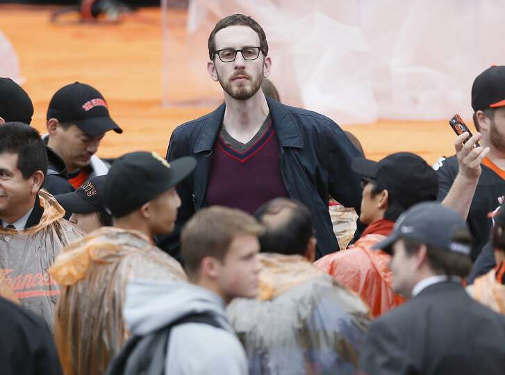 San Francisco city supervisor Scott Wiener hangs out before the championship parade ceremony on Friday, October 31, 2014 in the Civic Center of San Francisco, Calif.