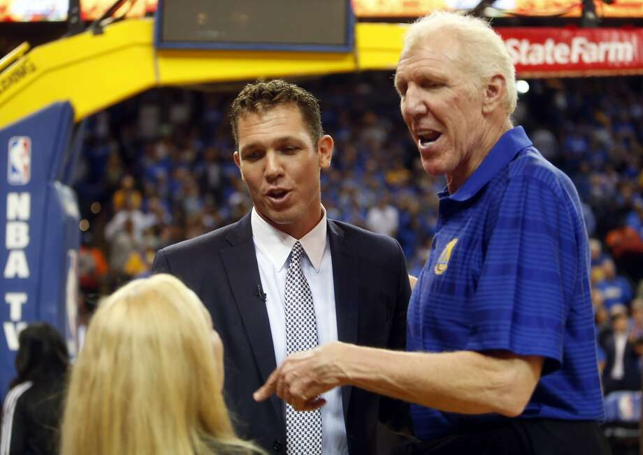 Golden State Warriors' interim head coach Luke Walton with father, Bill Walton, before game against New Orleans Pelicans at Oracle Arena in Oakland, Calif., on Tuesday, October 27, 2015. Photo: Scott Strazzante, The Chronicle