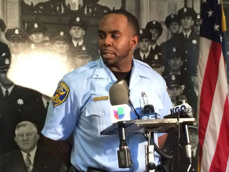Recruit Officer Ricky Williams speaks to media at a Monday news conference after he saved a 2-month old baby boy by performing CPR while off-duty at a San Leandro mall. Photo: Jenna Lyons