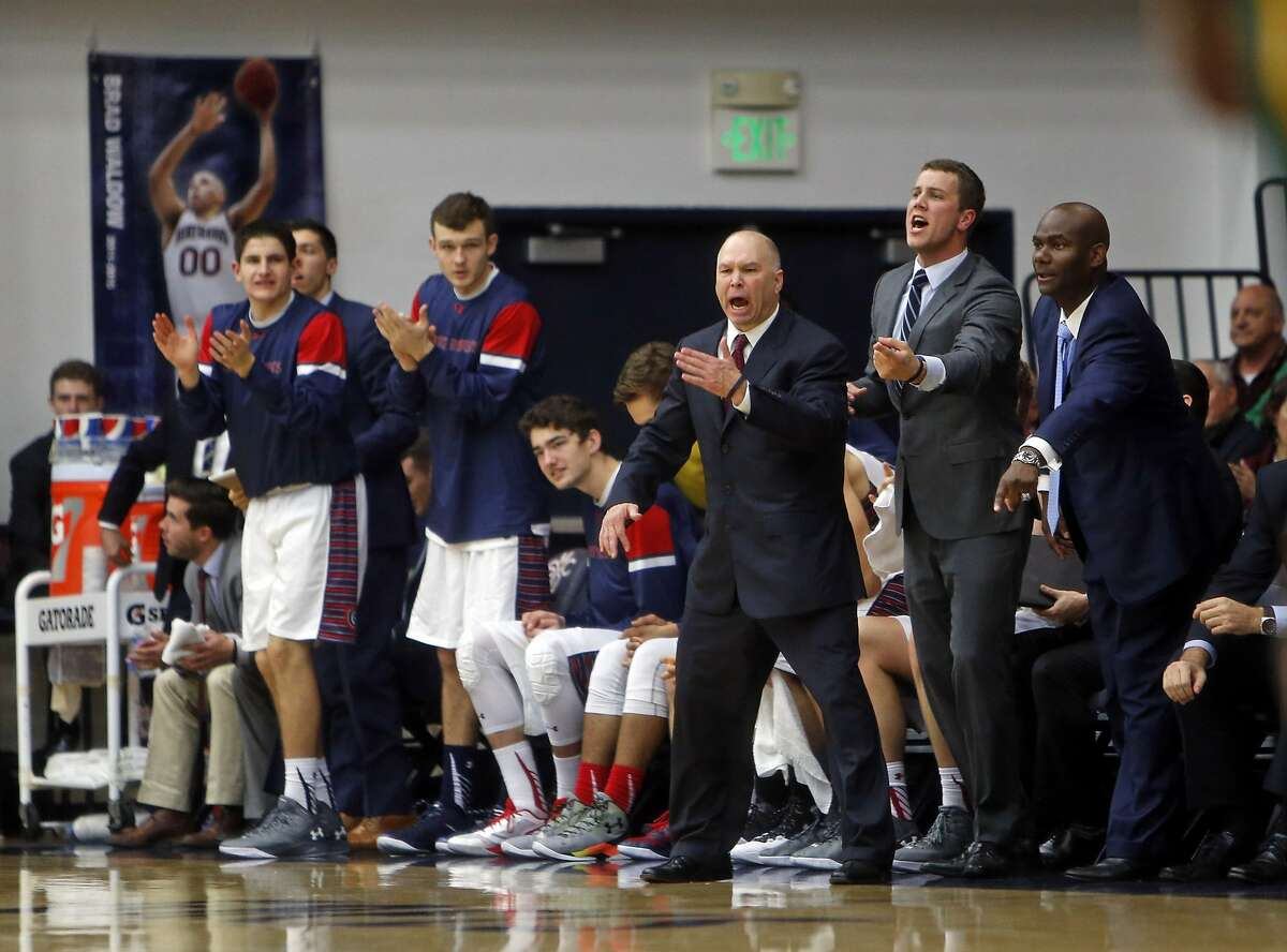 St. Mary's head coach Randy Bennett and bench encourage the Gaels during 1st half against USF during WCC basketball game in Moraga, Calif., in this file photo from Dec. 21, 2015.