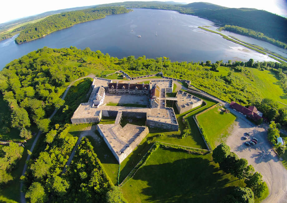 This aerial view shows some of more than 140 18th-century artillery pieces, the largest collection in North America, that will be part of a 2016 exhibit at the Fort Ticonderoga Museum. The exhibit will be created with a $150,000 federal grant. The fort along the southern end of Lake Champlain is a National Historic Landmark and played a strategic role in the French and Indian and Revolutioinary wars. (Photo courtesy of Fort Ticonderoga Museum)