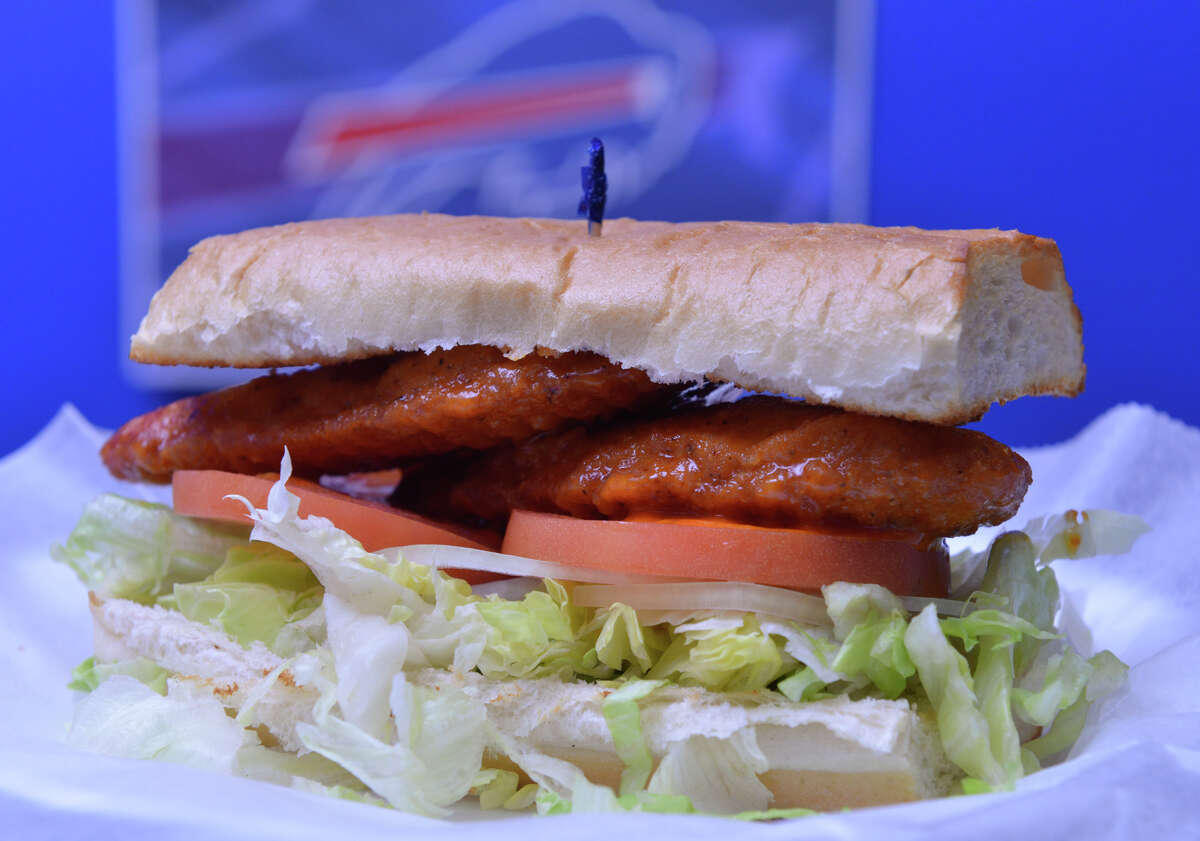 The chicken finger sub from Plaza Pizza 'N Wings, the San Antonio area meeting place for Buffalo Bills fans.