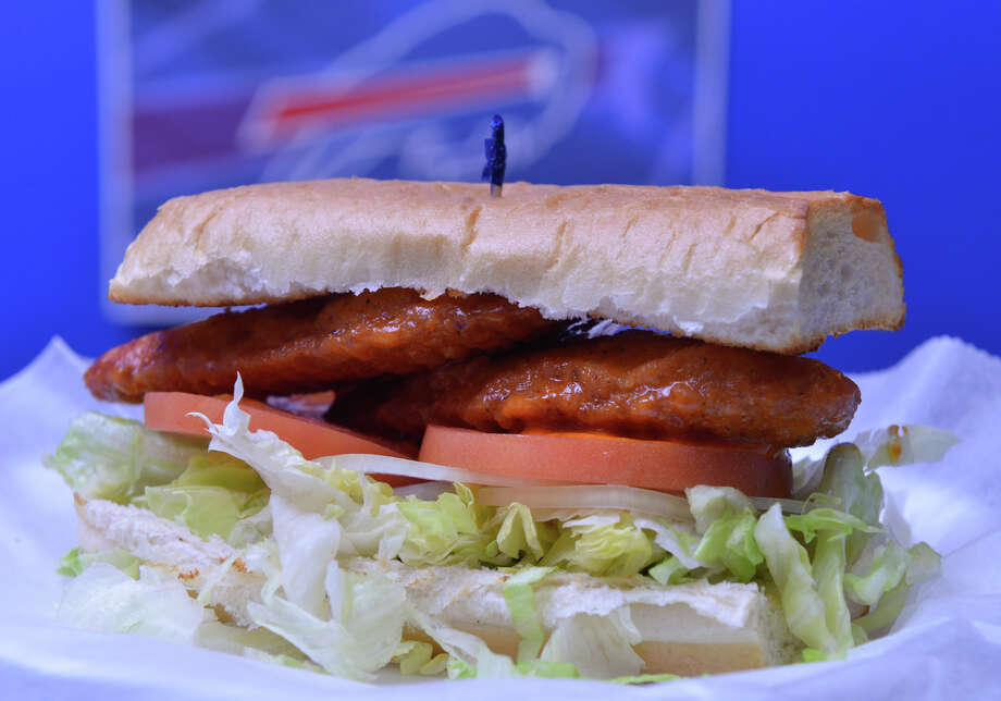 The chicken finger sub from Plaza Pizza 'N Wings, the San Antonio area meeting place for Buffalo Bills fans. Photo: Robin Jerstad /San Antonio Express-News