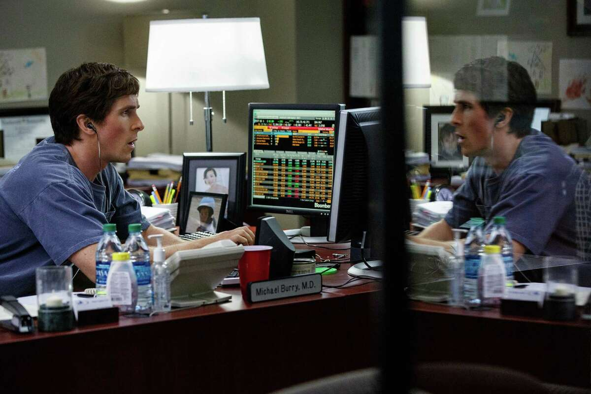 This photo provided by Paramount Pictures shows, Christian Bale as Michael Burry, in the film,