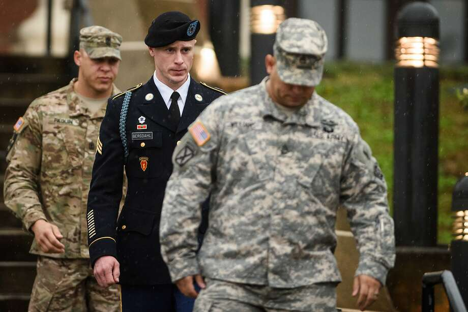 U.S. Army Sgt. Bowe Bergdahl leaves the courthouse after his hearing at Fort Bragg, N.C. Photo: Andrew Craft, Associated Press