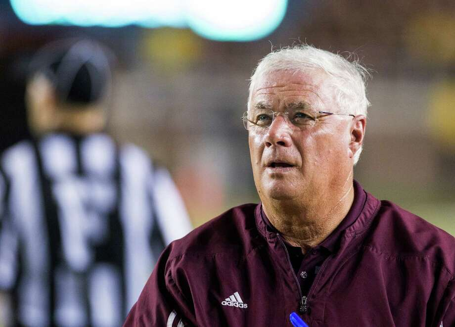 Texas State head coach Dennis Franchione looks up during the first half of his team's game against Florida State in Tallahassee, Fla., on Sept. 5, 2015. Photo: Mark Wallheiser /Associated Press / FR171224 AP