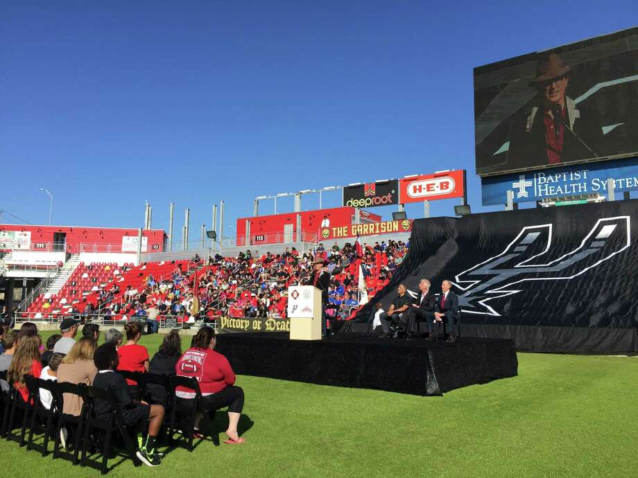 Bexar County Judge Nelson Wolff speaks Tuesday at Toyota Field, where the NASL's Scorpions played from 2012-15. Photo: Billy Calzada / San Antonio Express-News / San Antonio Express-News
