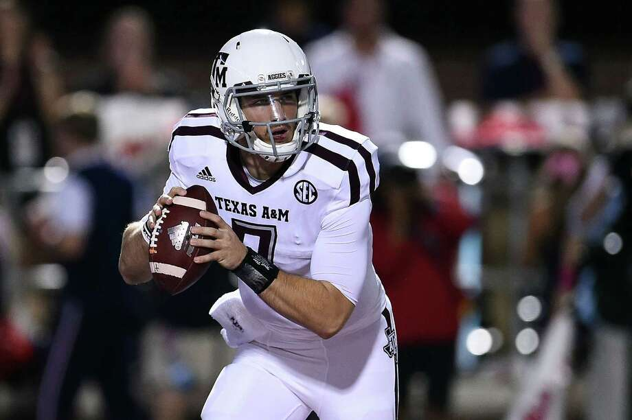 OXFORD, MS - OCTOBER 24:  Jake Hubenak #7 of the Texas A&M Aggies looks to pass during the fourth quarter of a game against the Mississippi Rebels at Vaught-Hemingway Stadium on October 24, 2015 in Oxford, Mississippi.  (Photo by Stacy Revere/Getty Images) Photo: Stacy Revere, Stringer / Getty Images / 2015 Getty Images
